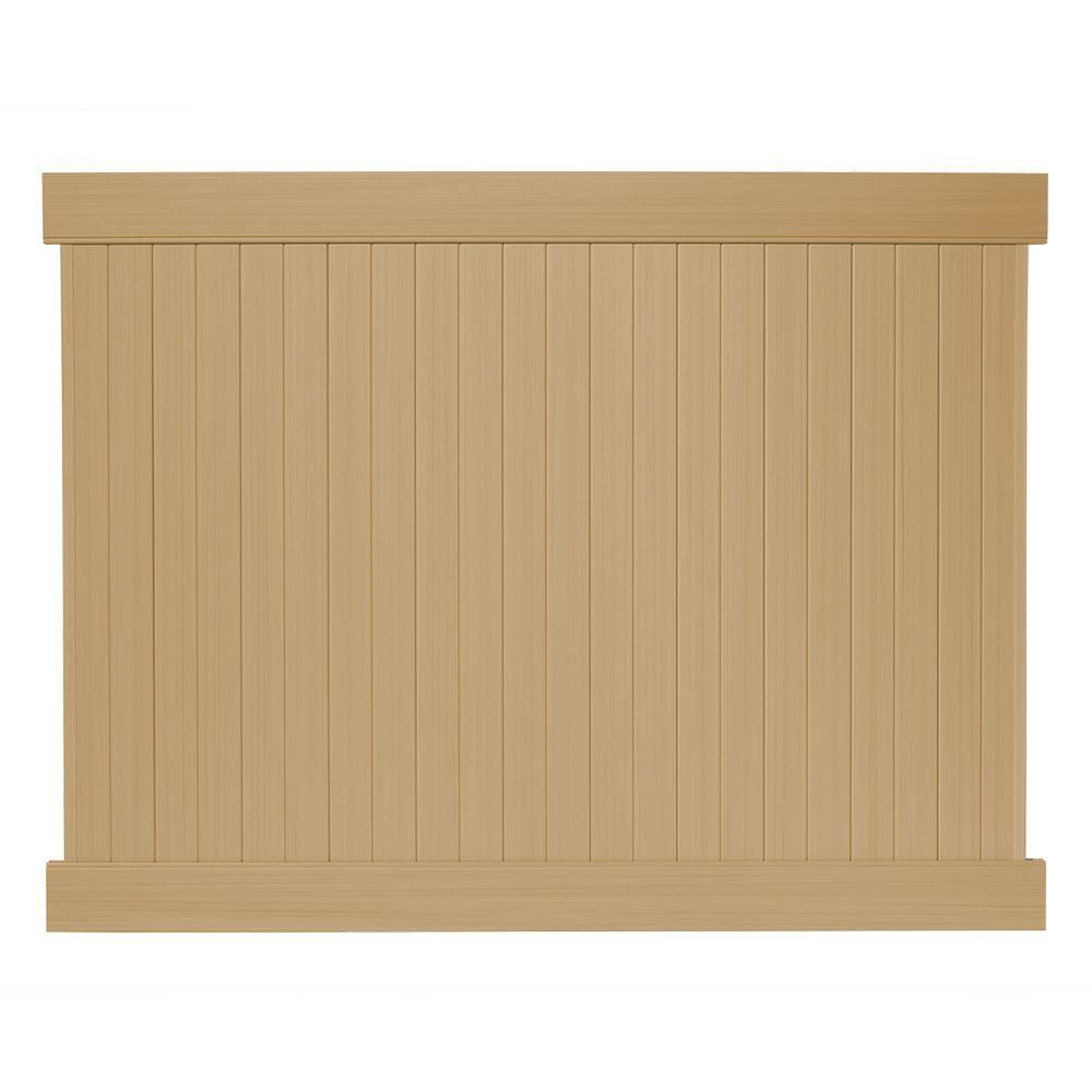6 ft. H x 8 ft. W Cedar Grove Natural Cedar Vinyl Privacy Fence Panel Kit