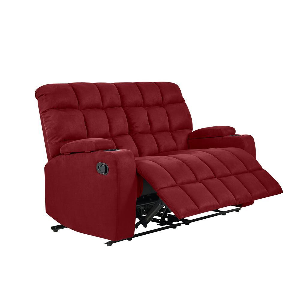 Wall Hugger 2-Seat Storage Reclining Crimson Red Microfiber Loveseat