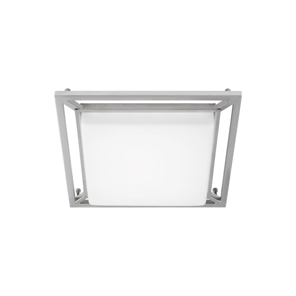 LBL Lighting Perret 14 in. W 20-Watt Satin Nickel Dimmable Integrated LED Flush Mount Square Ceiling Light Fixture