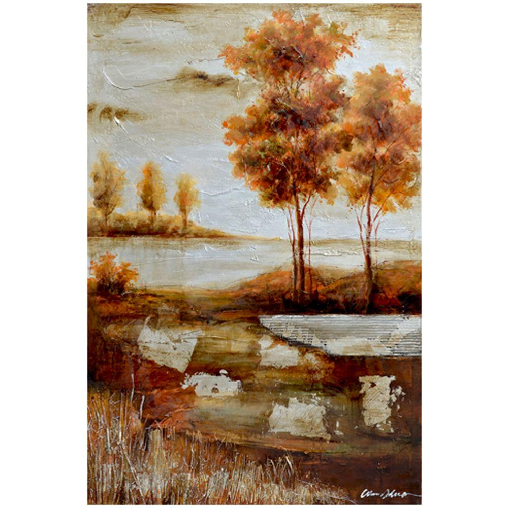 """Yosemite Home Decor 47 in. x 31 in. """"Countryside I"""" Hand Painted Canvas Wall Art"""