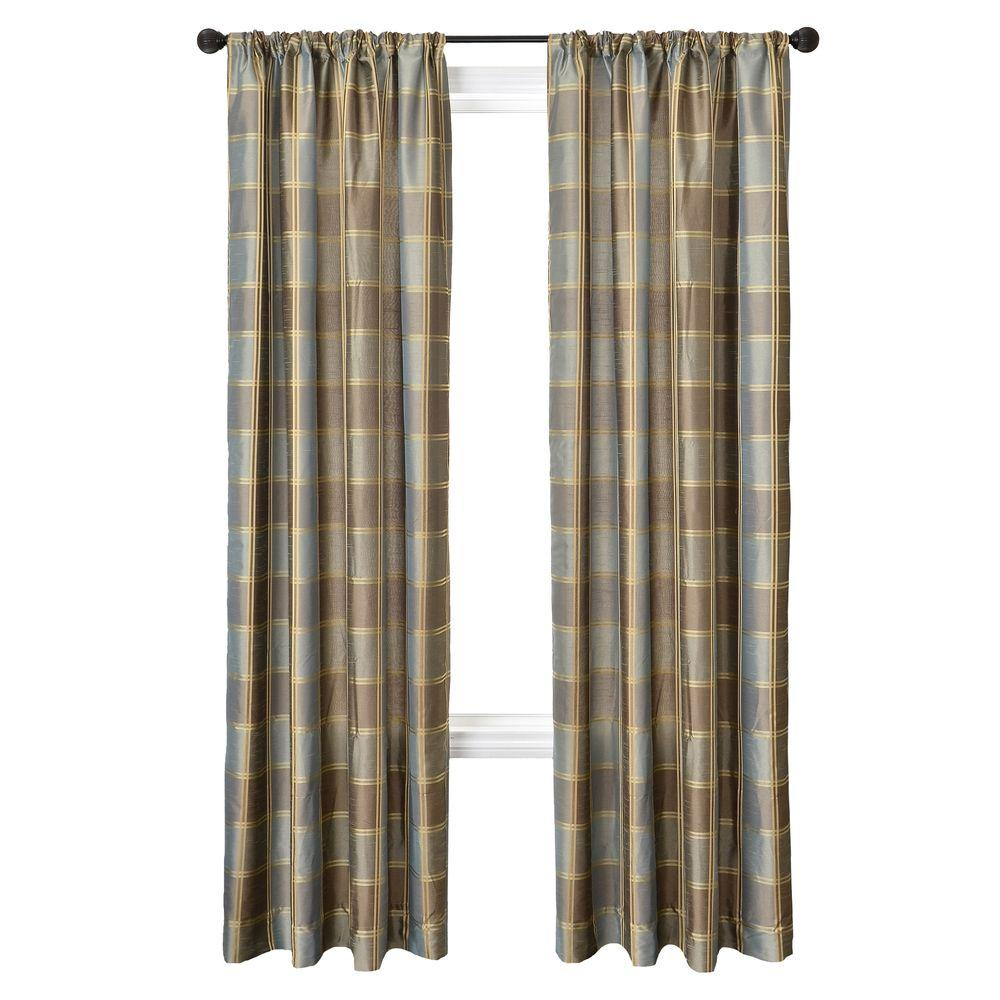 Home Decorators Collection Sheer Plaid Lagoon Diplomat Rod Pocket Curtain - 55 in.W x 84 in. L