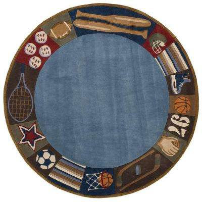 Caprice Collection Blue 5 ft. x 5 ft. Indoor Round Area Rug