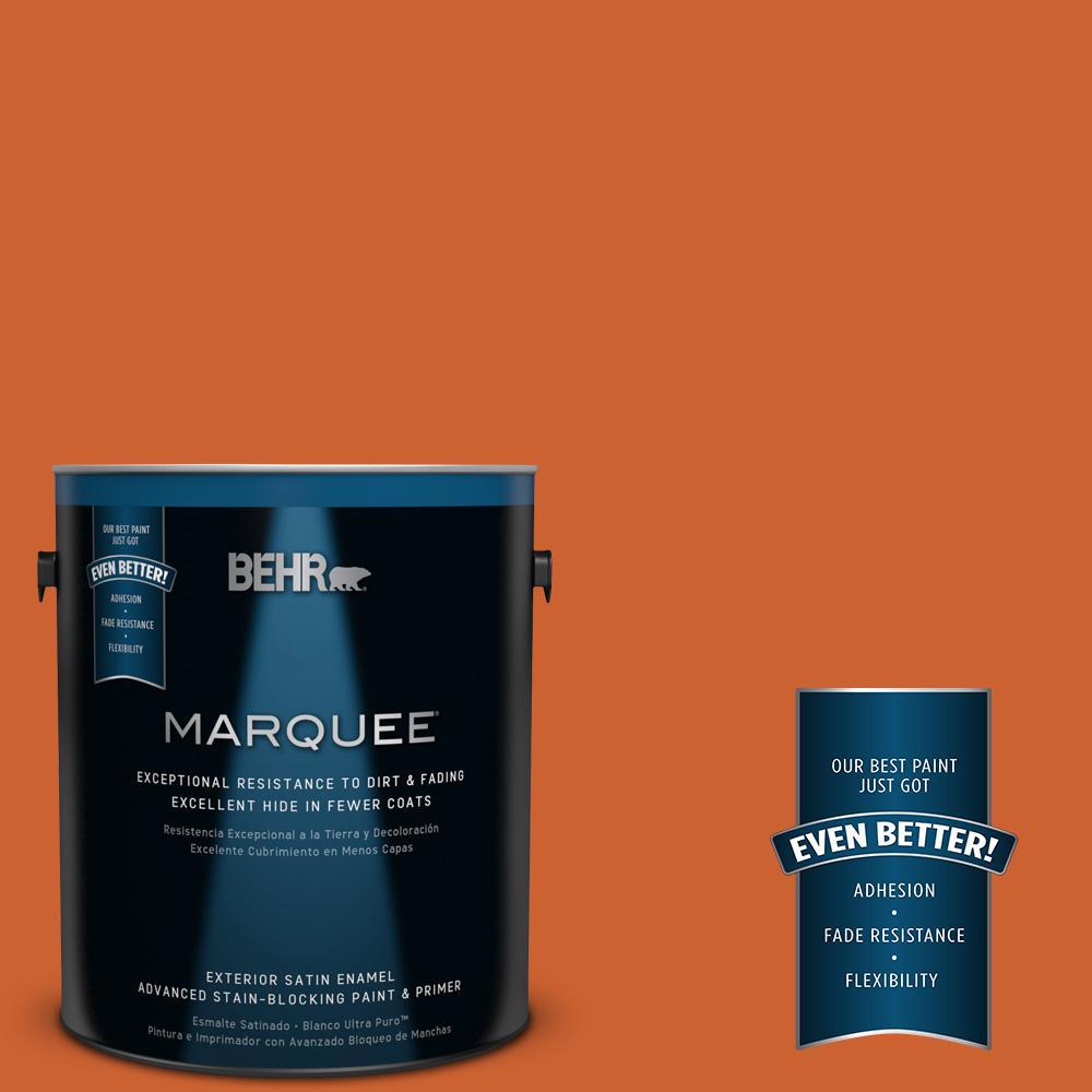 BEHR MARQUEE 1-gal. #S-H-250 Pumpkin Patch Satin Enamel Exterior Paint
