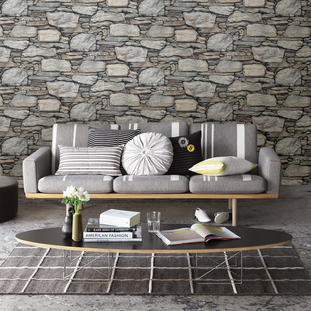 Brewster 56.4  sq. ft. Cesar Grey Stone Wall Wallpaper