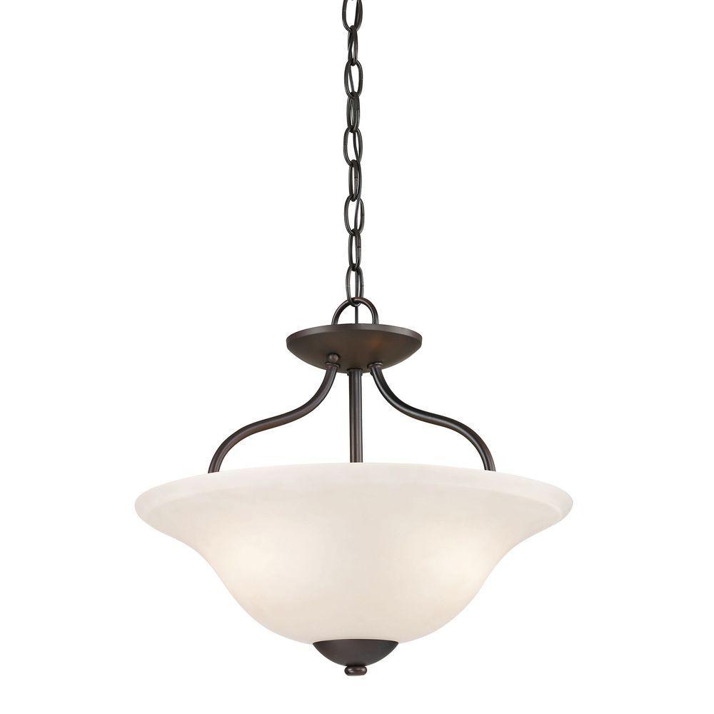 Titan Lighting Conway 2-Light Oil-Rubbed Bronze Semi-Flush Mount Light