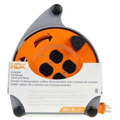 20 ft. 16/3 Cord Reel with 4-Outlets