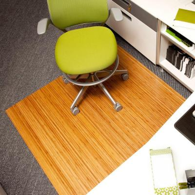 Standard Natural Light Brown 48 in. x 52 in. Bamboo Roll-Up Office Chair Mat without Lip