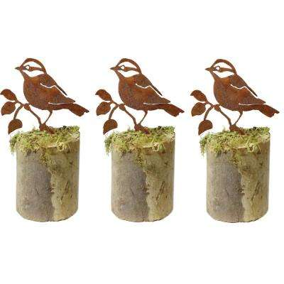 4 in. Tall Metal Rustic Look Artwork Black-Capped Chickadee Silhouettes (Set of 3)