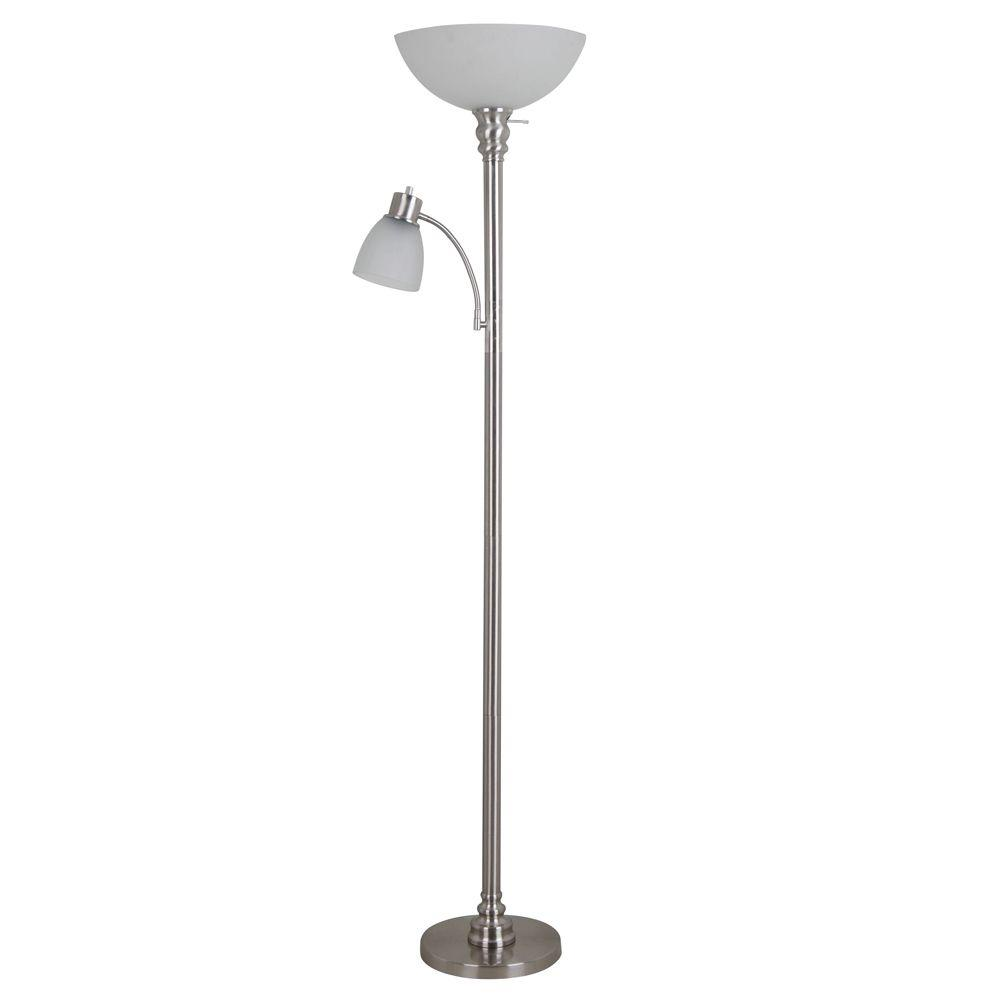 Floor lamps lamps the home depot brushed nickel floor lamp with reading light and frosted glass shade aloadofball Image collections