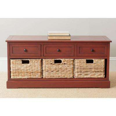 Damien 19.7 in. x 42.1 in. Red Pine Wood 3-Drawer Storage Cabinet