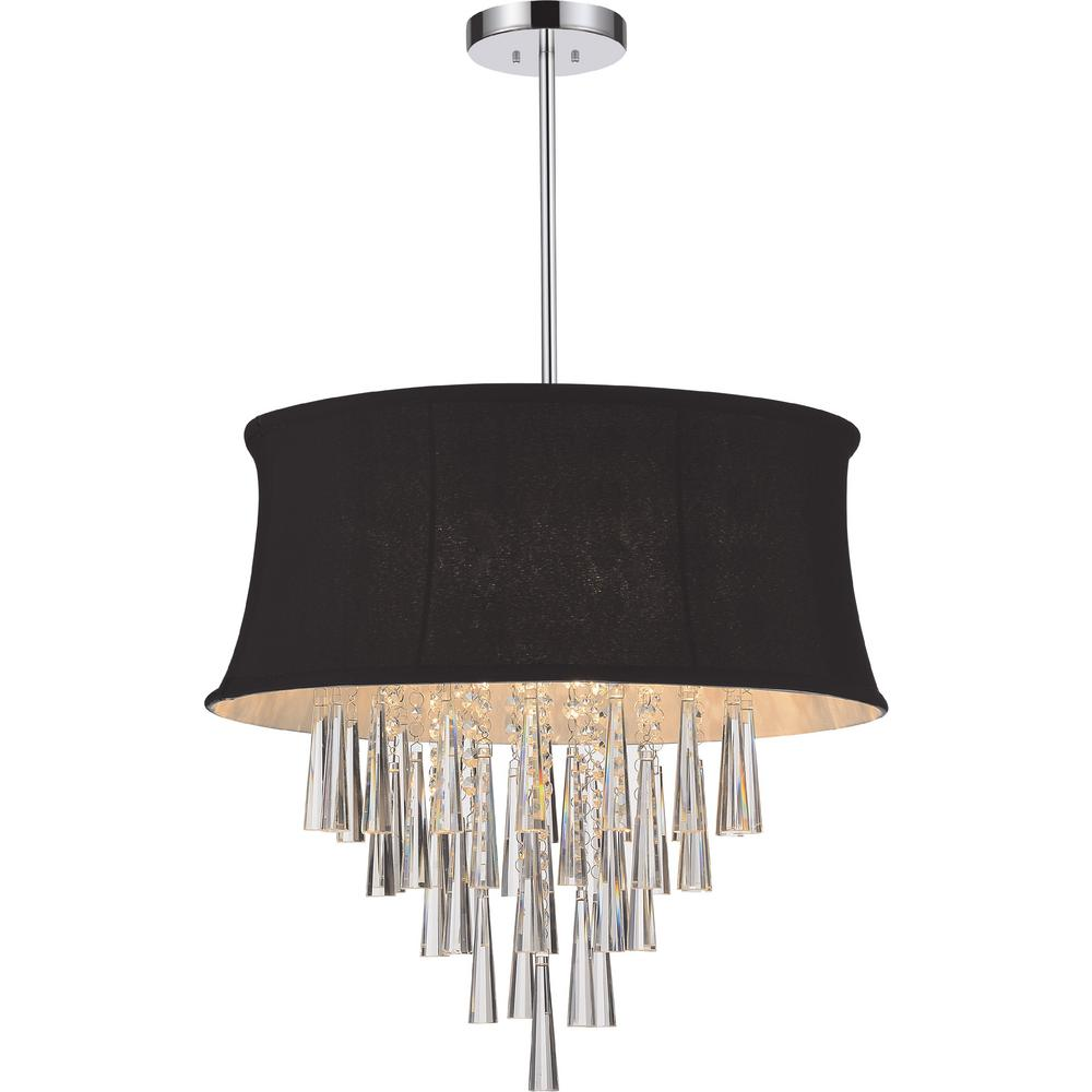 Audrey 6-Light Chrome Chandelier with Black shade