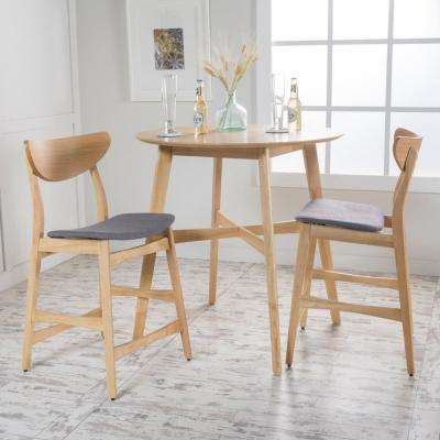 3-Piece Natural Oak Wood and Dark Gray Fabric Counter Height Dining Set