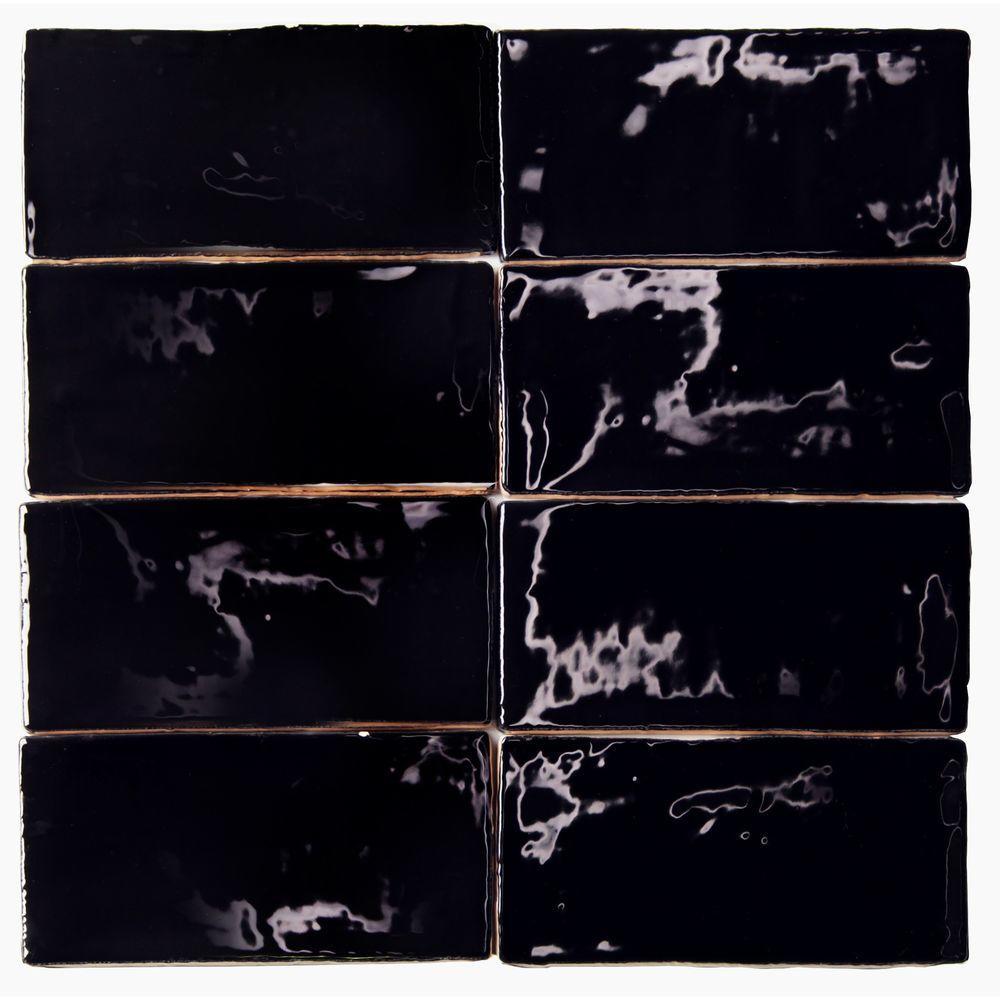 Splashback Tile Catalina Black 3 In X 6 In X 8 Mm Ceramic Wall