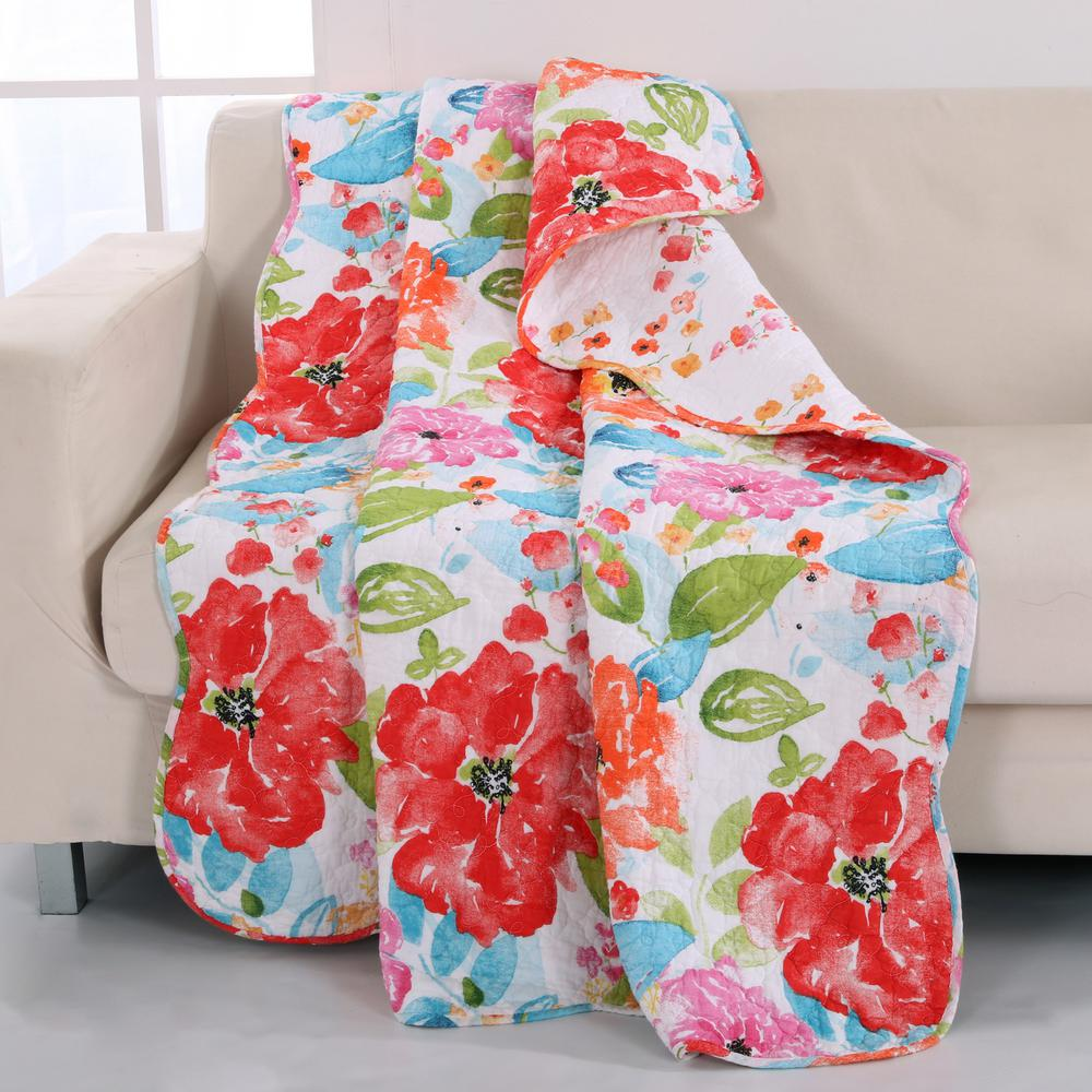 Esme Pink Floral Quilted Cotton Throw