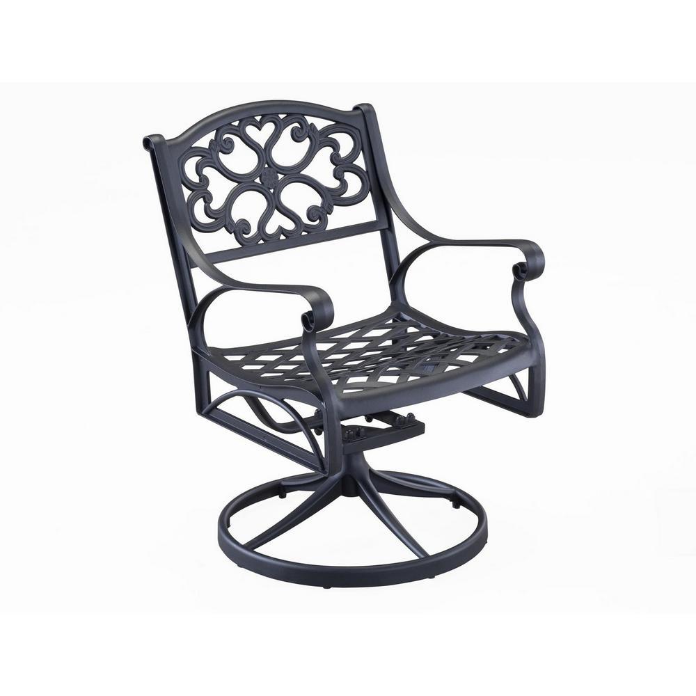 Sanibel Black Swivel Rocking Cast Aluminum Outdoor Dining Chair