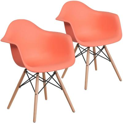 Peach Plastic Party Chairs (Set of 2)