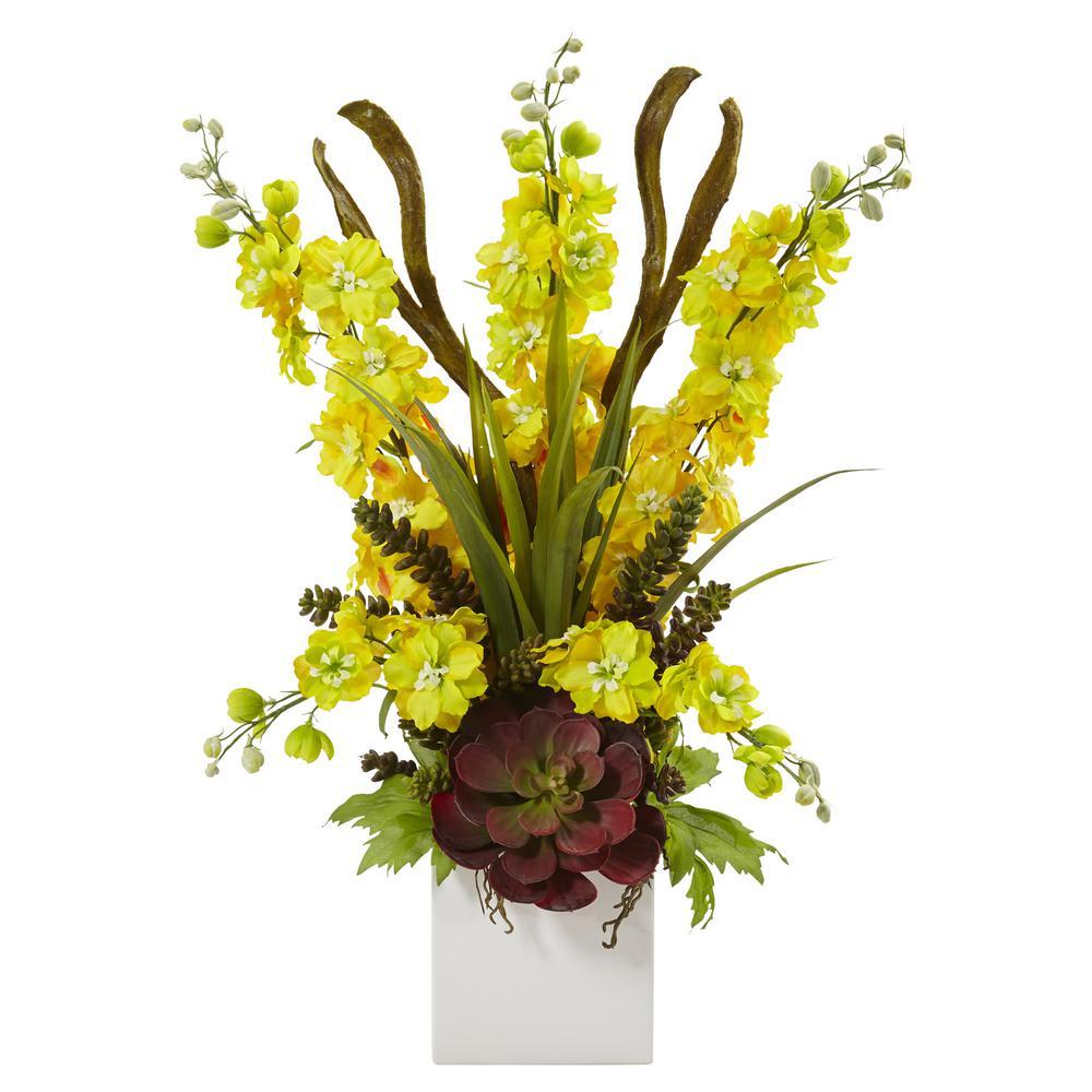23 in. Delphinium and Succulent Arrangement in Yellow