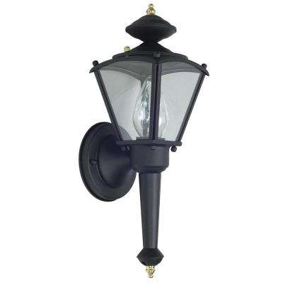 1-Light Black Outdoor Lantern with Clear Glass