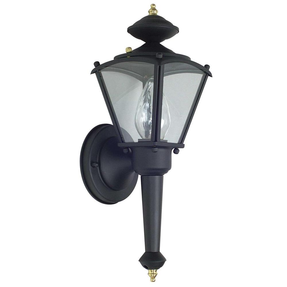 Luminance 1-Light Black Outdoor Lantern with Clear Glass