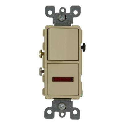 15 Amp Decora Commercial Grade Combination Single Pole Rocker Switch and Neon Pilot Light, Ivory