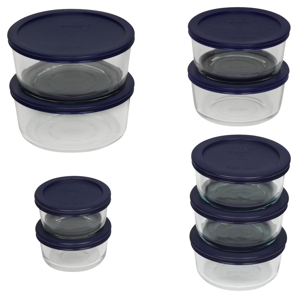 18-Piece Round Glass Baker Set with Lids