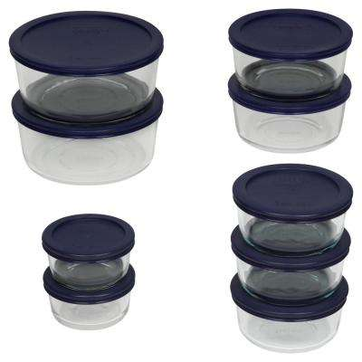 Simply Store 18-Piece Round Glass Storage Set with Blue Lids