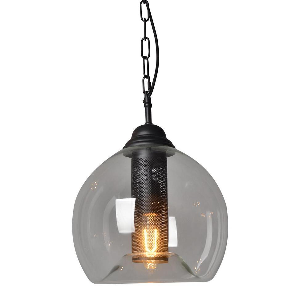 1-Light Black Bubble Shade Pendant