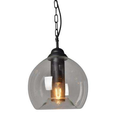 1-Light Black Bubble Shade Pendant