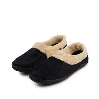 MEMORY FOAM HEATED SLIPPER WITH RECHARGEABLE BATTERY - BLACK- Large size 10