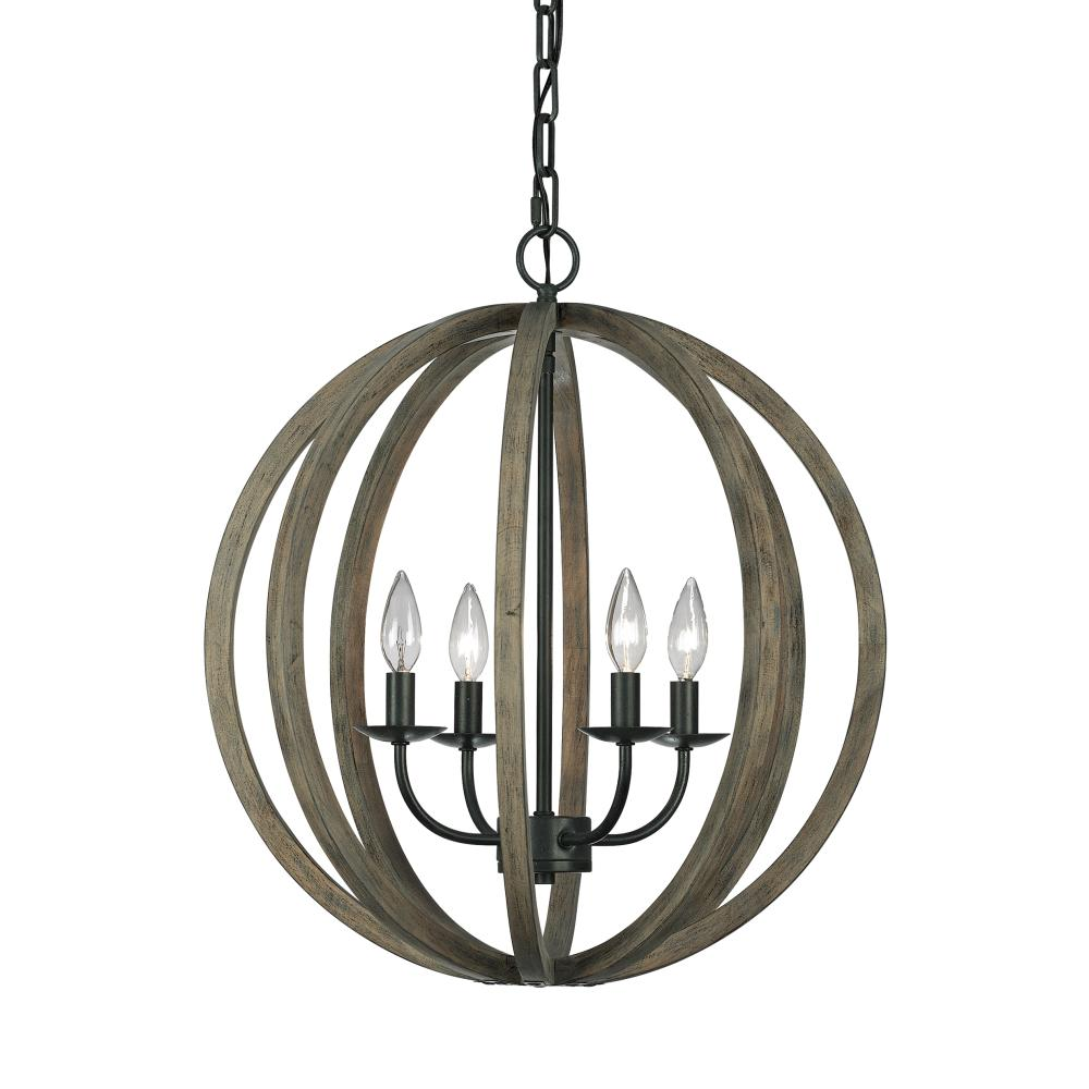 W 4 Light Weathered Oak Wood Antique Forged Iron Pendant