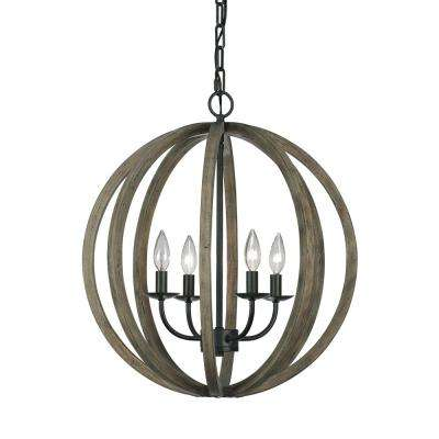 Allier 20.5 in. W 4-Light Weathered Oak Wood/Antique Forged Iron Orb Chandelier