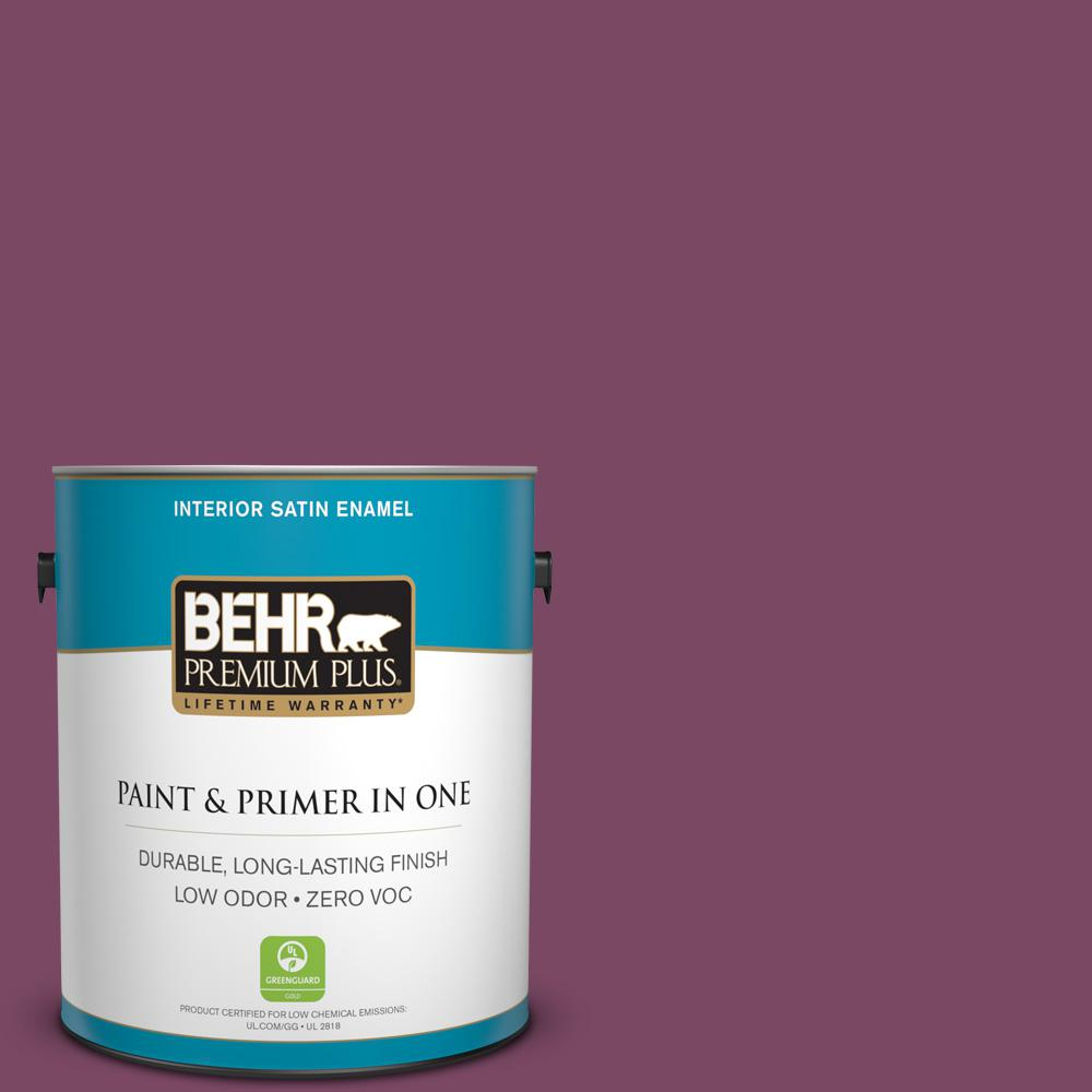 1 gal. #PPU1-19 Classic Berry Zero VOC Satin Enamel Interior Paint