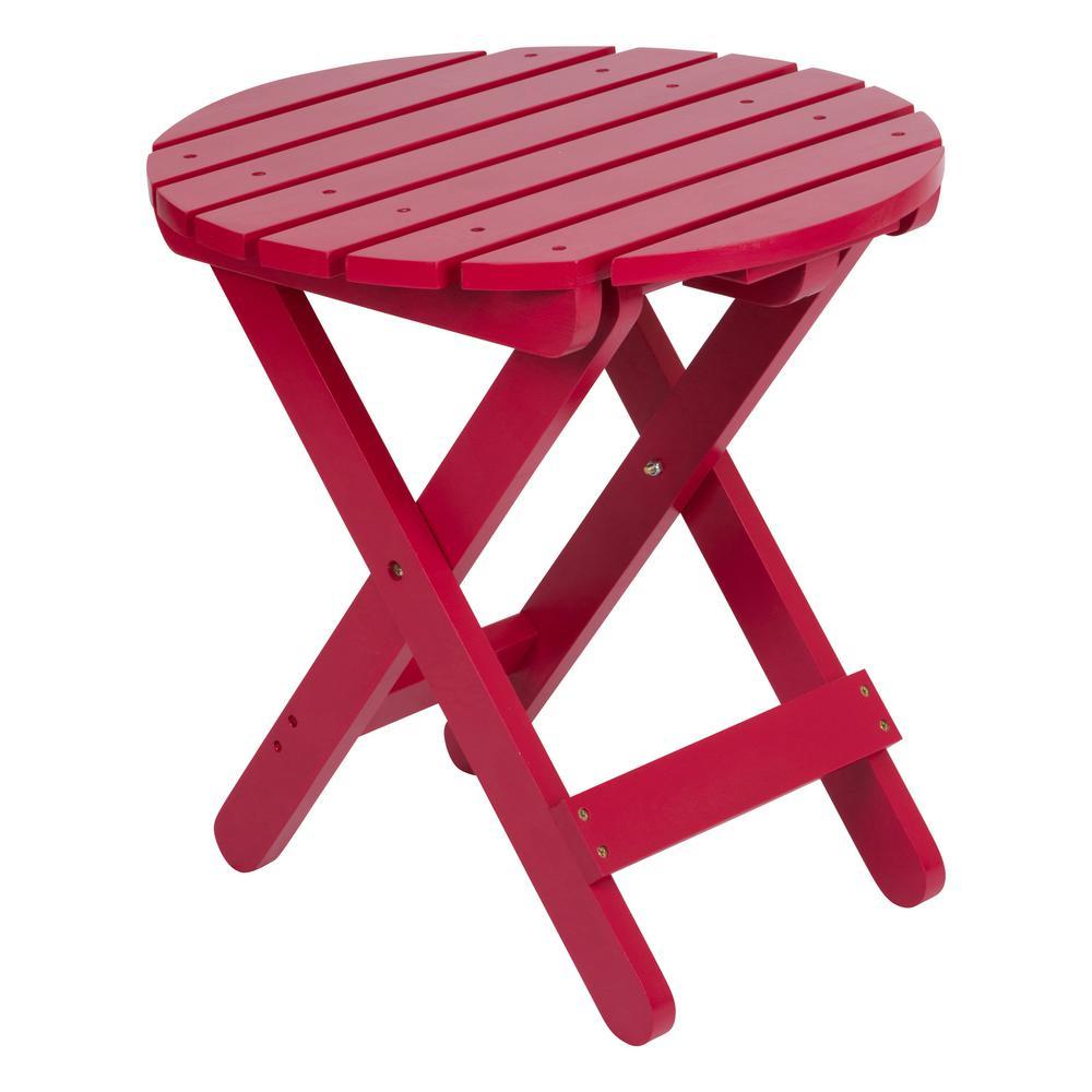 Adirondack Tomato Red Round Wood Folding Table