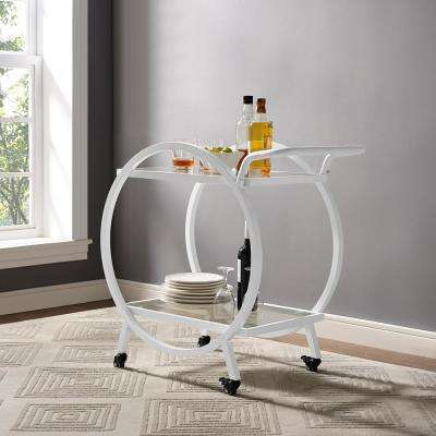 32 in. Round Frame Serving/Bar Cart in White