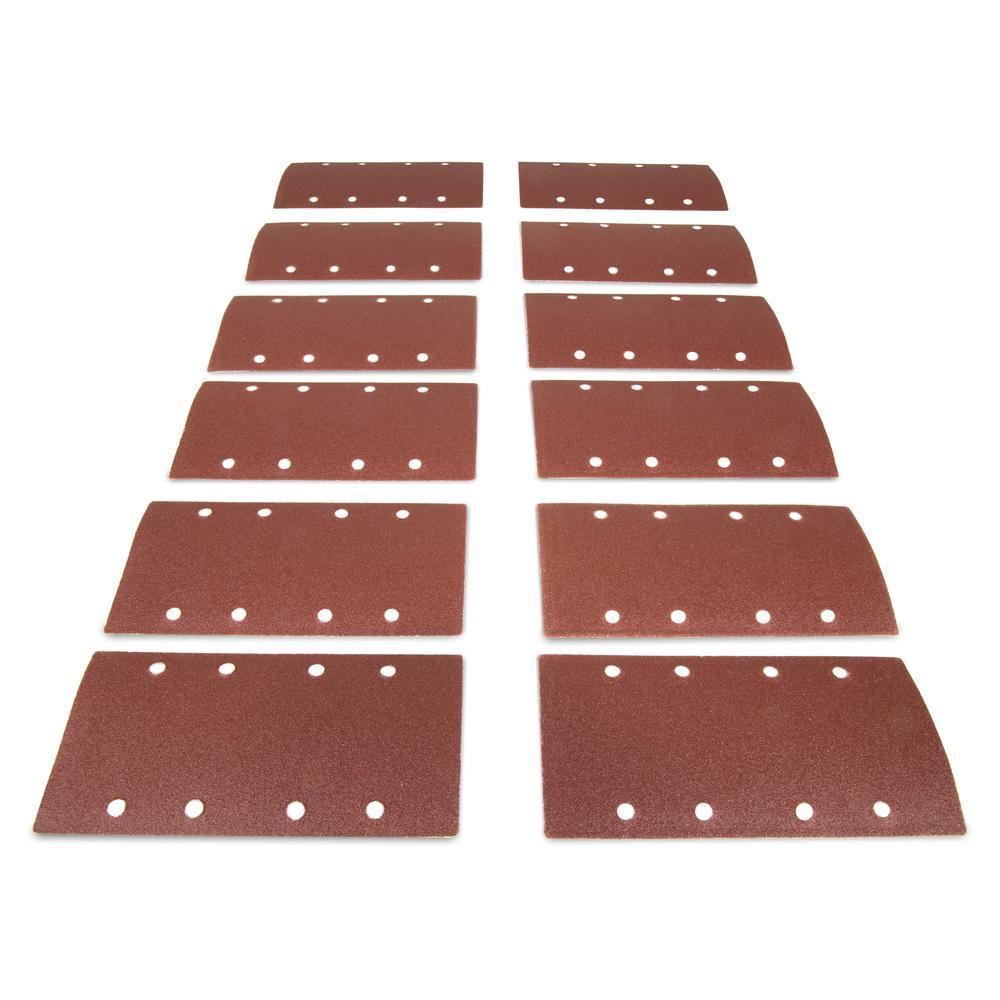 1/3 Sheet Sander Hook-and-Loop Sandpaper Assorted Grits (12-Pack)
