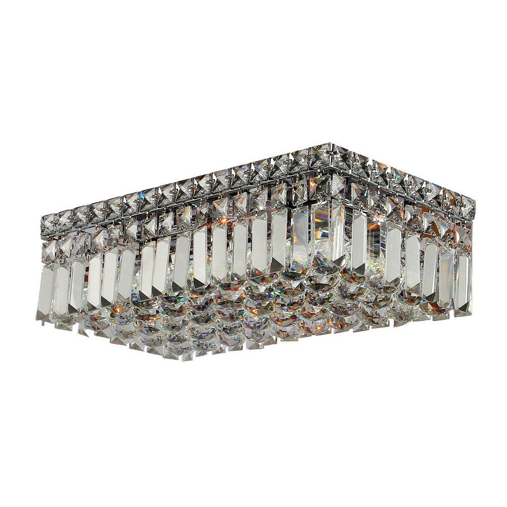 Worldwide Lighting Cascade Collection 4-Light Chrome and Crystal Flush Mount