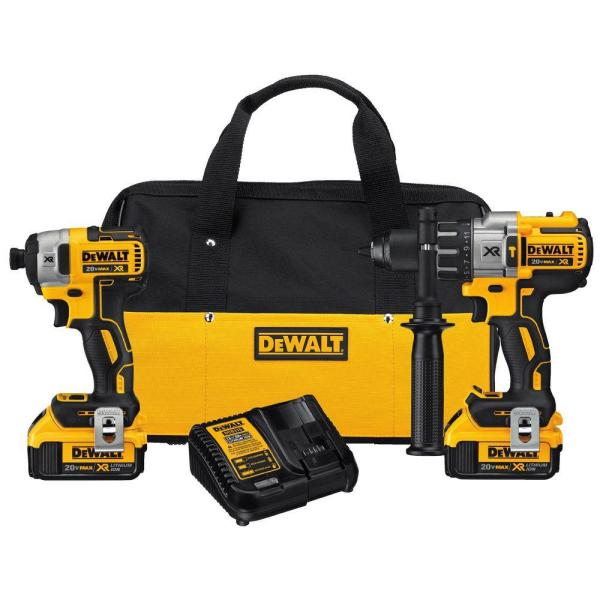 20-Volt MAX XR Lithium-Ion Cordless Brushless Hammer Drill/Impact Combo Kit (2-Tool) with 2 Batteries 4 Ah and Charger
