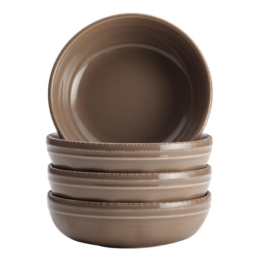 Cucina Dinnerware 4-Piece Stoneware Fruit Bowl Set in Mushroom Brown
