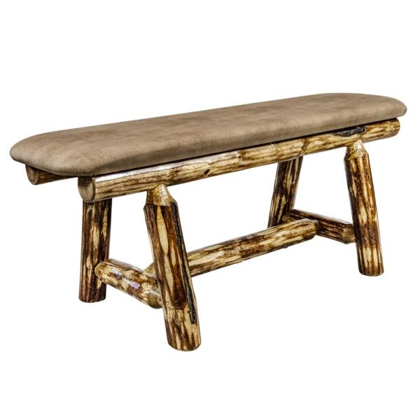 Glacier Country Collection 18 in. H Brown Wooden Bench with Buckskin Upholstered Seat, 45 In. Length