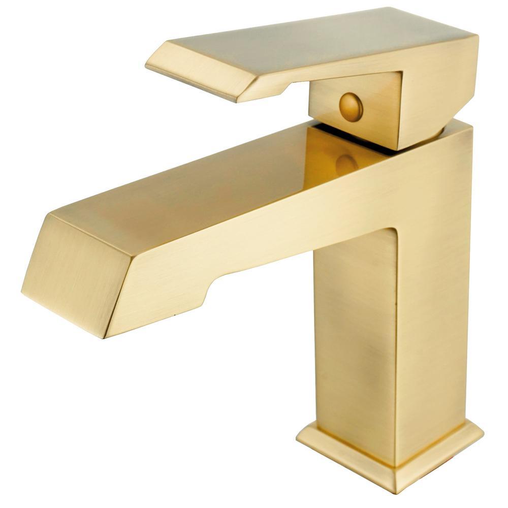 Satin Brass Single Hole Single-Handle Bathroom Faucet in Matte