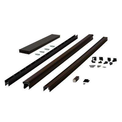 Symmetry 6 ft. Simply Brown Capped Composite Line Rail Section with 35.5 in. Aluminum Balusters