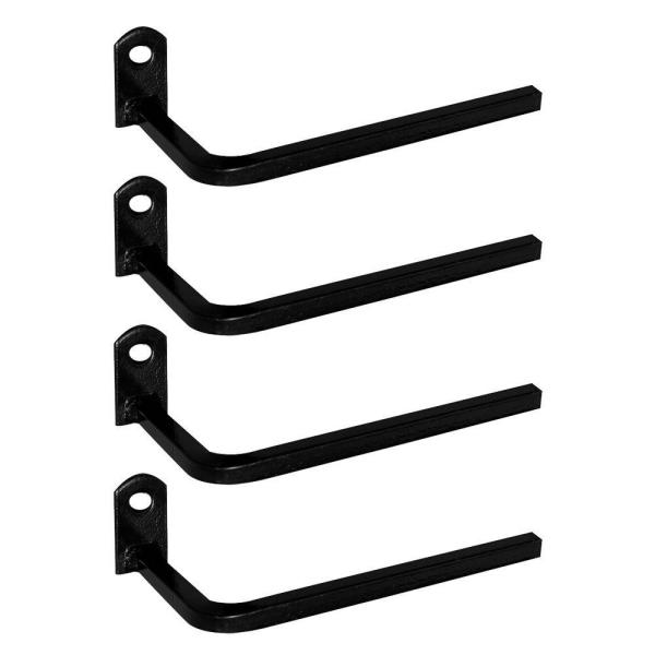3 in. Black Projection Brackets with Screws (4-Pack)