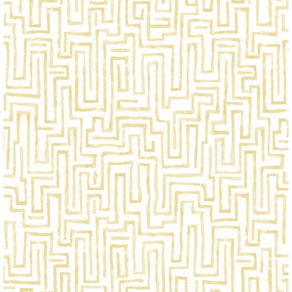 Phoebe Ramble Mustard Geometric Wallpaper
