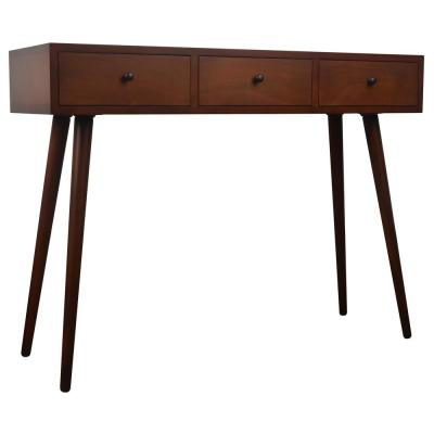 Mid Century Walnut 3-Drawer Console Table