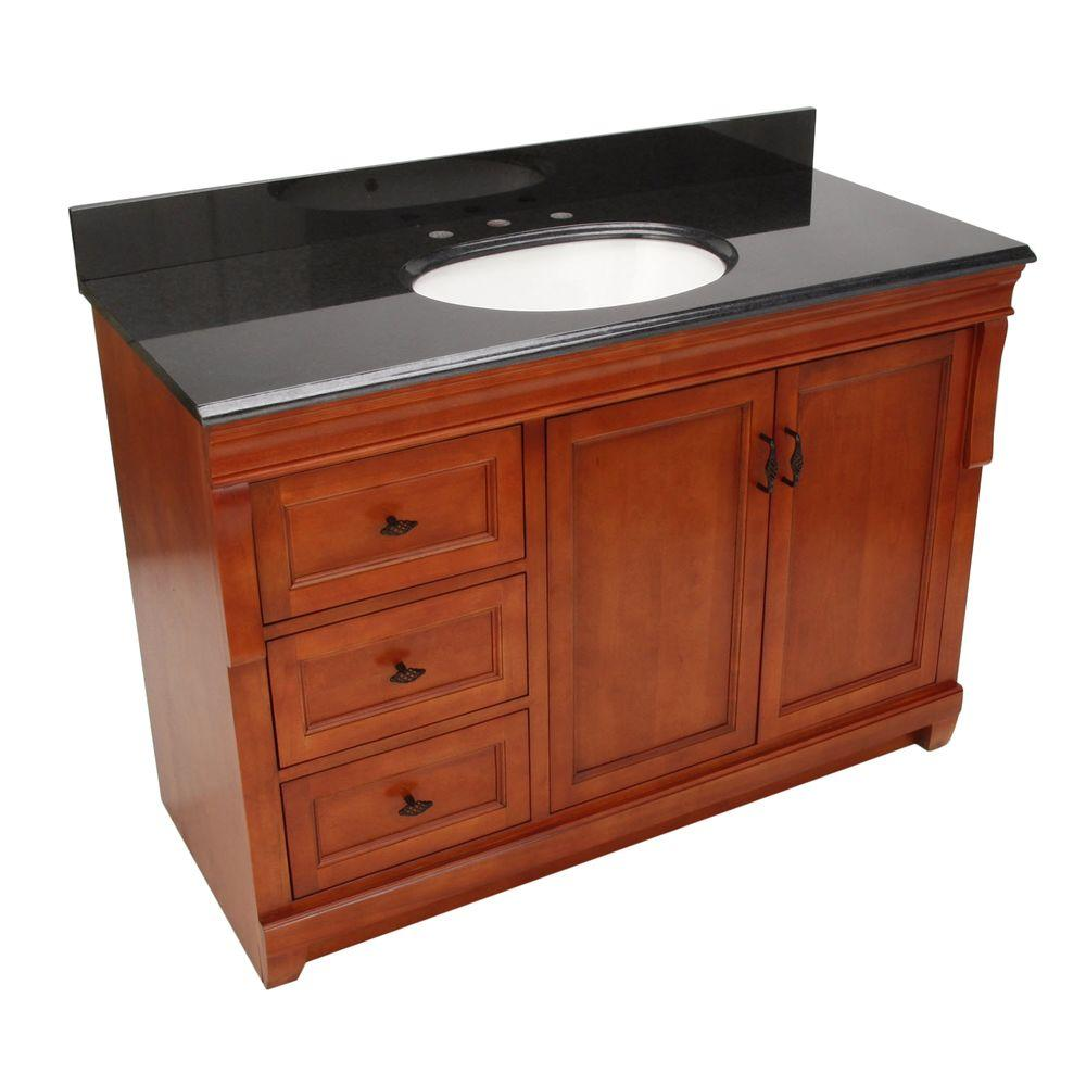 Foremost Naples 49 in. W x 22 in. D Vanity with Left Drawers in Warm Cinnamon with Granite Vanity Top in Black