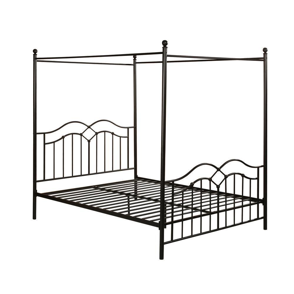Earheart  Black Metal Canopy Queen Bed Frame