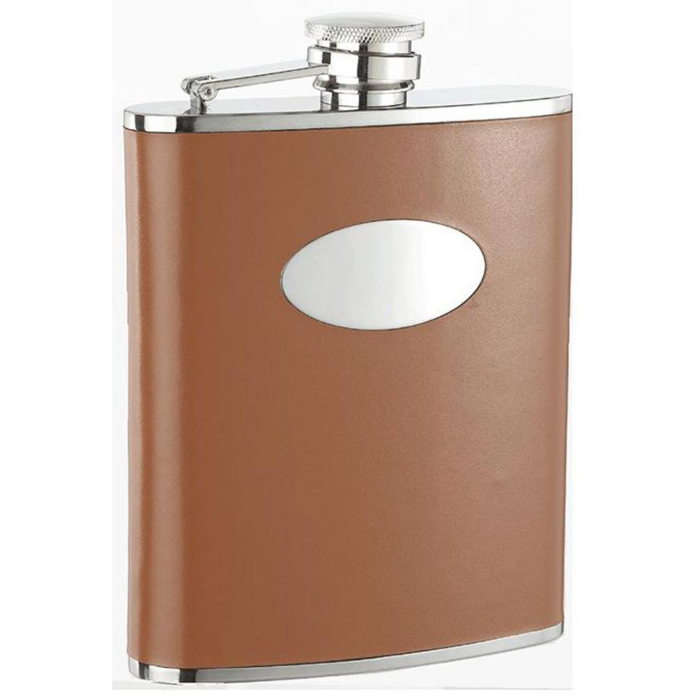 Bobcat Brown Leather Stainless Steel 18 oz. Hip Flask