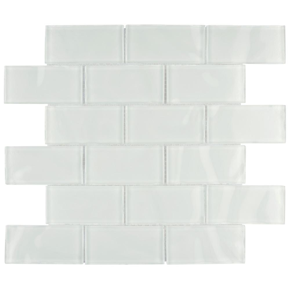Merola Tile Tessera Ripple Super White 11 3 4 In X 8 Mm Gl Mosaic