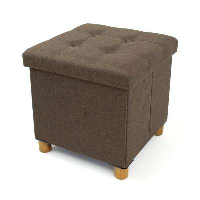 Brown Collapsible Cube Storage Ottoman Foot Stool with Tray