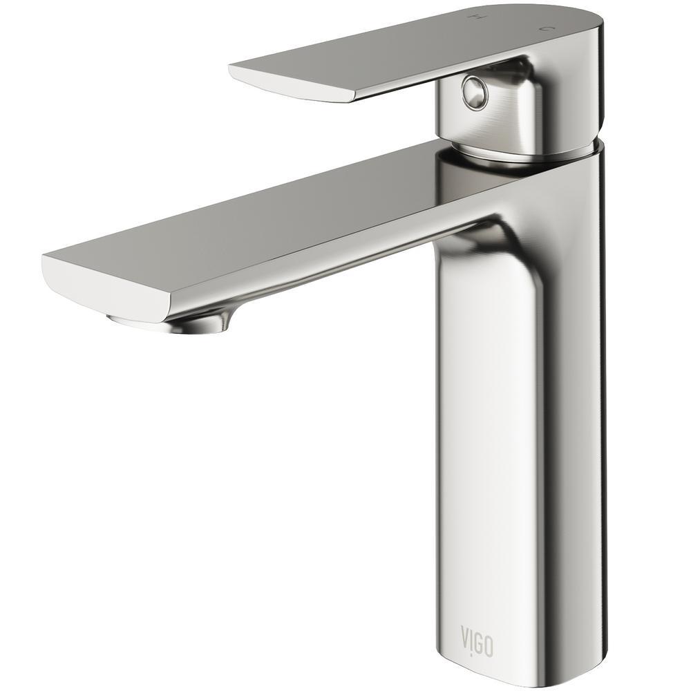 VIGO Davidson Single Hole Single-Handle Bathroom Faucet in Brushed Nickel